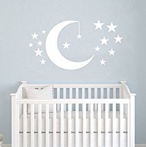 Moon and Stars Wall Decals Baby Room Nursery Clouds Wall Vinyl Decal Stickers Playroom Kids Children Bedroom Murals Home Decor
