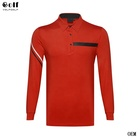 VolfGolf Men's Golf Long Sleeve Polo Shirt with Stripes on right sleeve and front