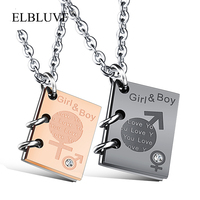 ELBLUVF Stainless Steel Zircon Jewelry Love Book Shape Pendant Couples Necklace Wholesale