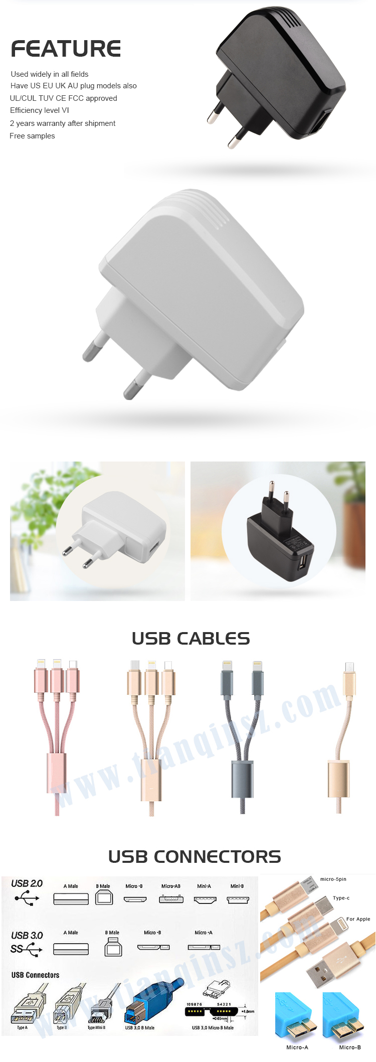 Level VI usb wall charger 2.5a eu plug with GS CE SAA FCC ROHS,2years warranty