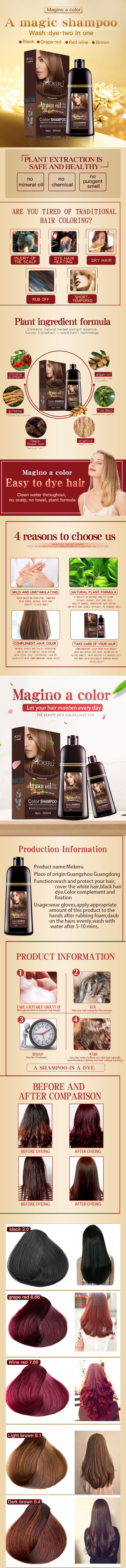 Natural herbal serum shampoo with nonil magic brown color shampoo for white and gray hair color dye 100% covering