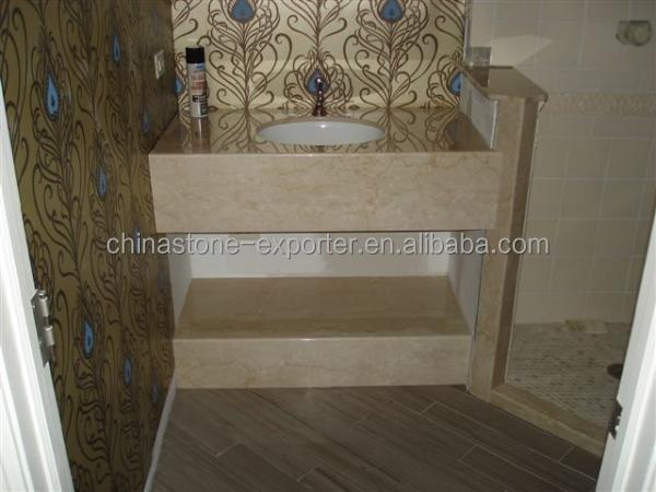 Badkamer muur decoratie natuursteen beige marmeren tegel platen