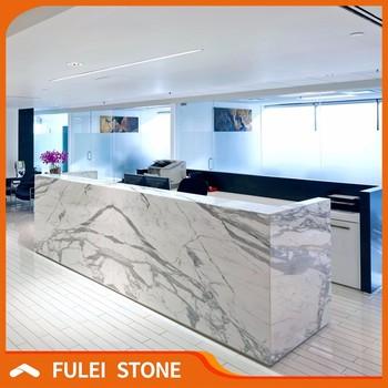 Modern Italian White Statuario Marble Stone Reception