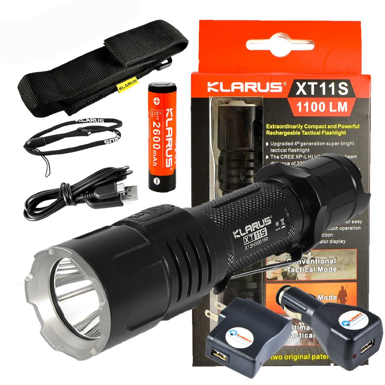 *NEW 2016* Klarus XT11S CREE XP-L HI V3 LED Tactical Flashlight Black 1100 Lumens w/ Lightjunction USB Wall + USB Car Plug