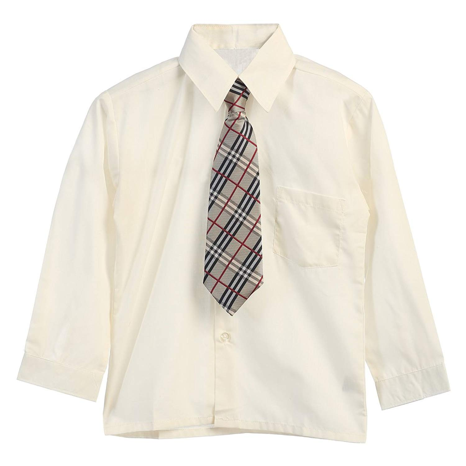 0e74154ea579 Get Quotations · Big Boys Ivory Tie Long Sleeve Button Special Occasion Dress  Shirt