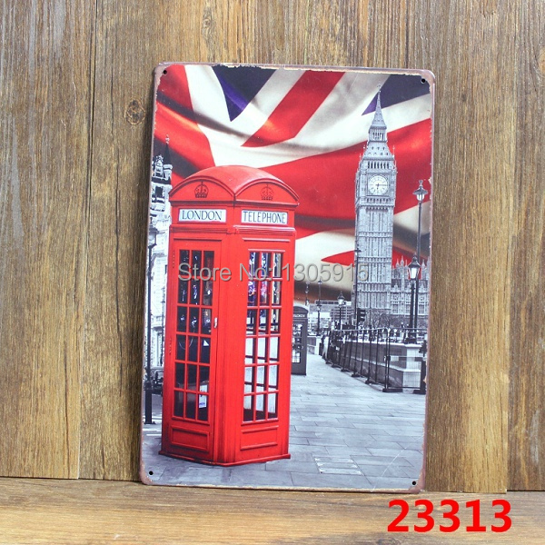 UK TELEPHONE BOOTH! Tin Sign Bar pub home Wall Decor Retro Metal Art Poster