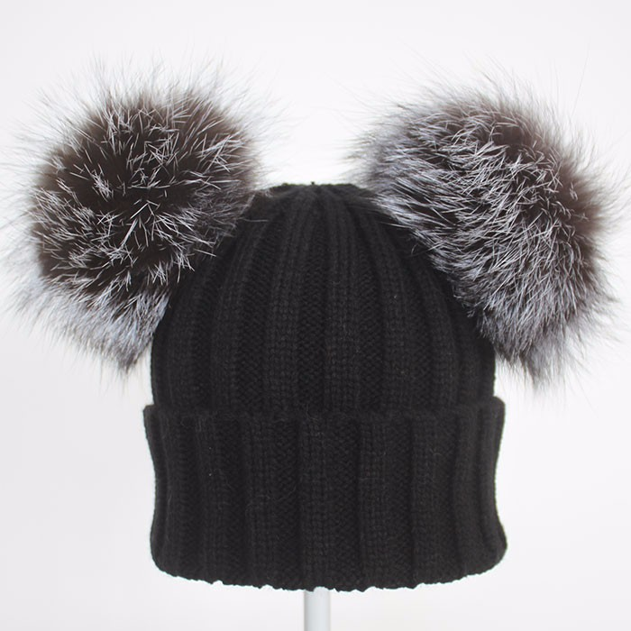 Myfur Black Double Silver Fox Fur Pom Puff Knitted Funny Cute Beanie Hats db0aba313d4