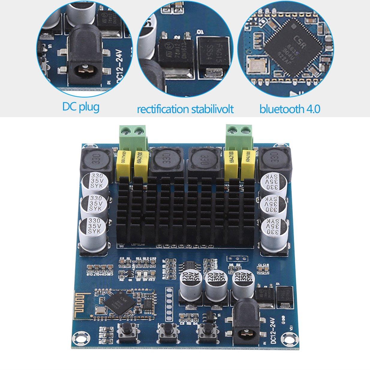 TPA3116D2 Wireless Bluetooth 4.0 Dual Channel 120W+120W Audio Receiver Digital Amplifier Board DC 12V-24V for DIY Home Sound Car Audio