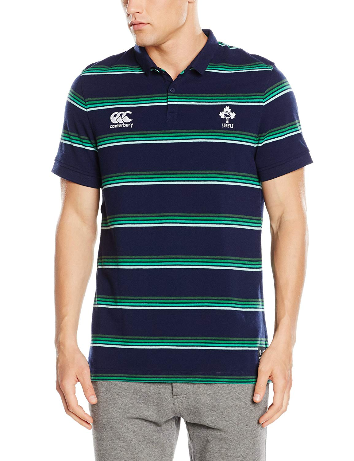 Canterbury Ireland Rugby Stripe Polo Shirt
