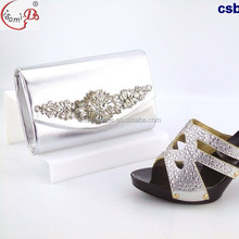 Chowleedee china supplier csb7422 silver high heel italian matching wedding shoes and bag set