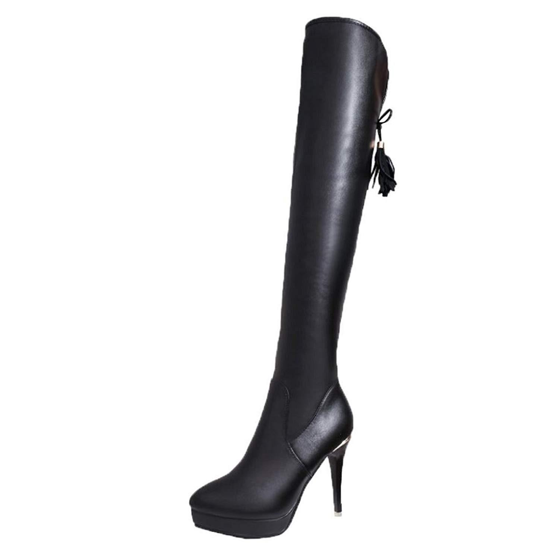 6cbf2c08aa87 Get Quotations · Appoi Women Boots Knee High Heels High-Heeled Knee Heels  Waterproof Over Knee Tassel High