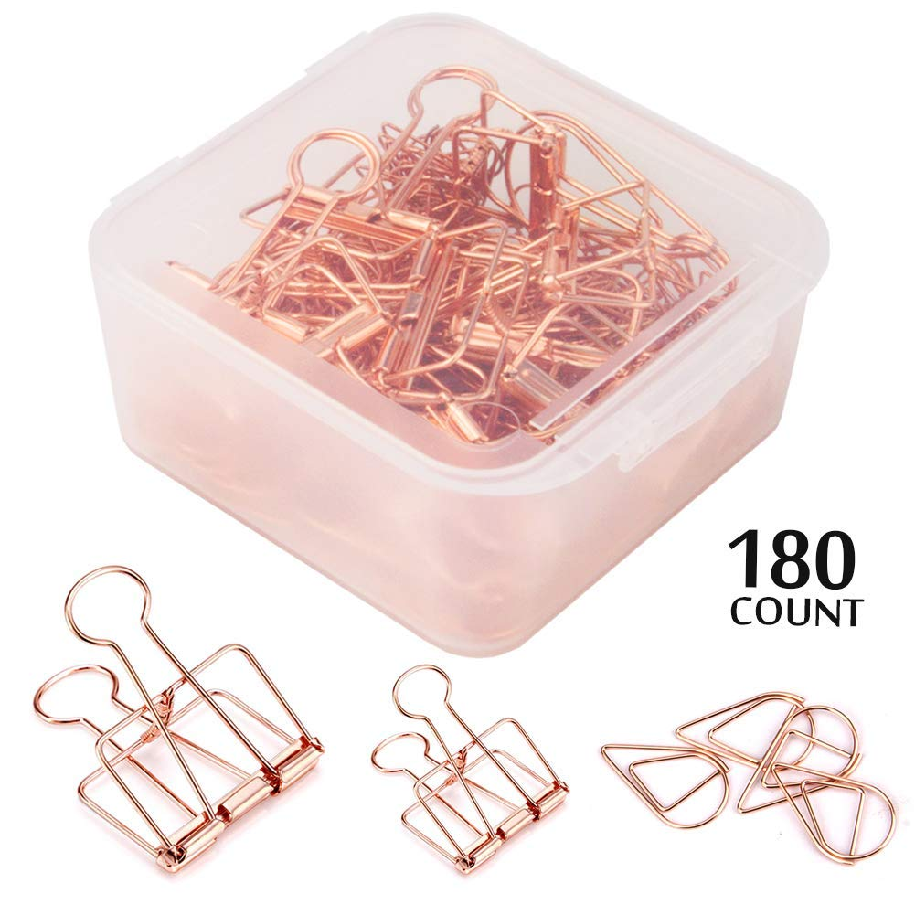 DeedyGo 30 Metal Wire Binder Clips and 150 Cute Paper Clips Rose Gold Assorted Sizes Stainless Steel Binder Paper Clips for Office Supplies Women Kids Girls