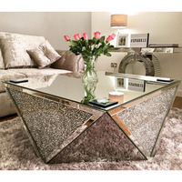 4 sides crushed diamond handmade mirrored coffee table