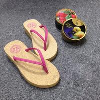EVA Wooden Anti-Skidding female Sandals Women Waterproof slipper High-Heeled Rainbow Color Girl flip flops
