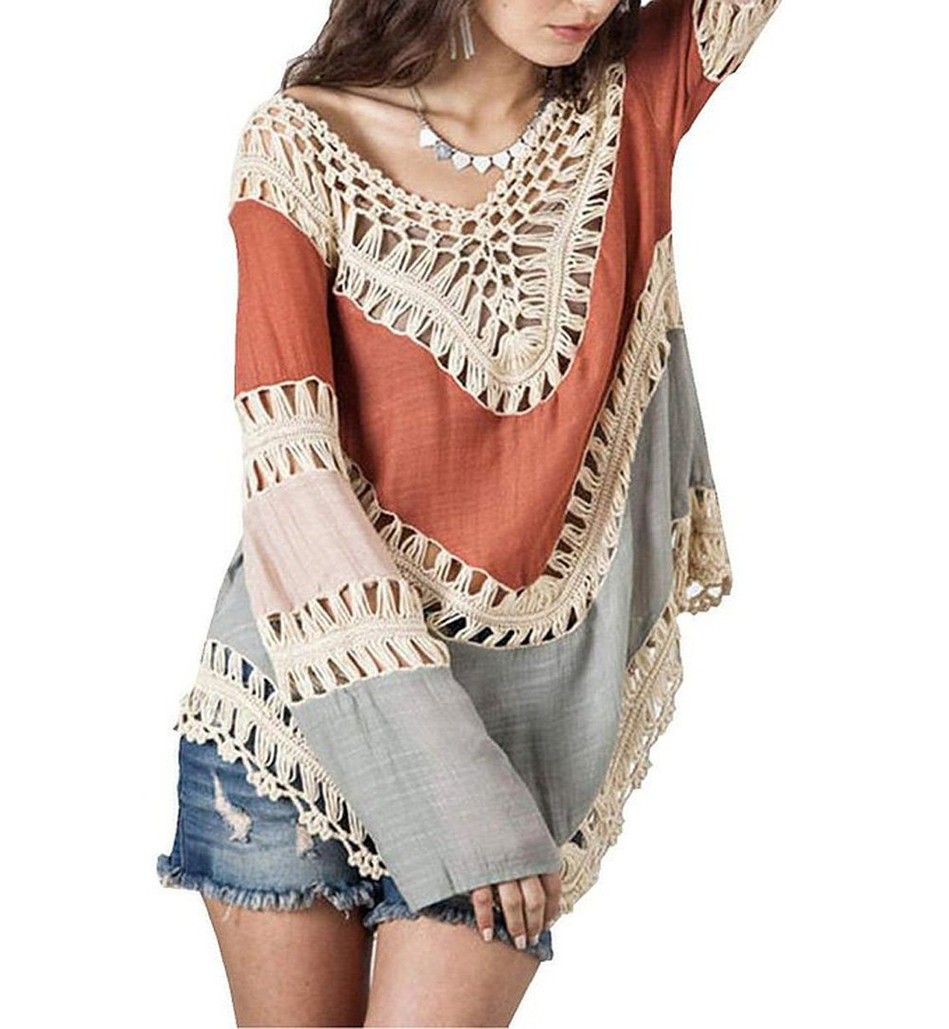 3e25af0e033f9 Get Quotations · Umgee Women's Crochet Lace Fringe Boho Bohemian Blouse Top  Frayed Blouse