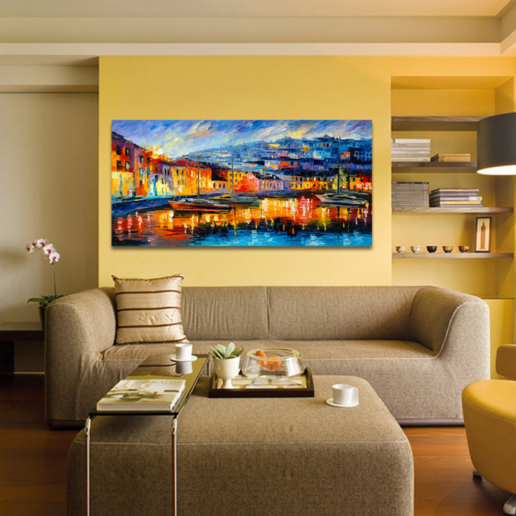 Dining Room Paintings: Harbor Boats Abstract Scenery Painting Dining Room Bedroom