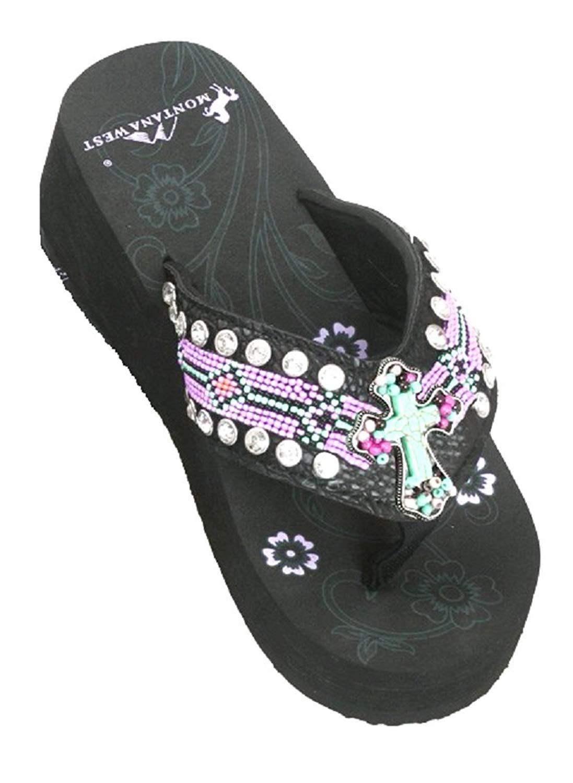 b92b6d131371 Buy Montana West Ladies Flip Flops Large Rhinestones Floral Concho ...