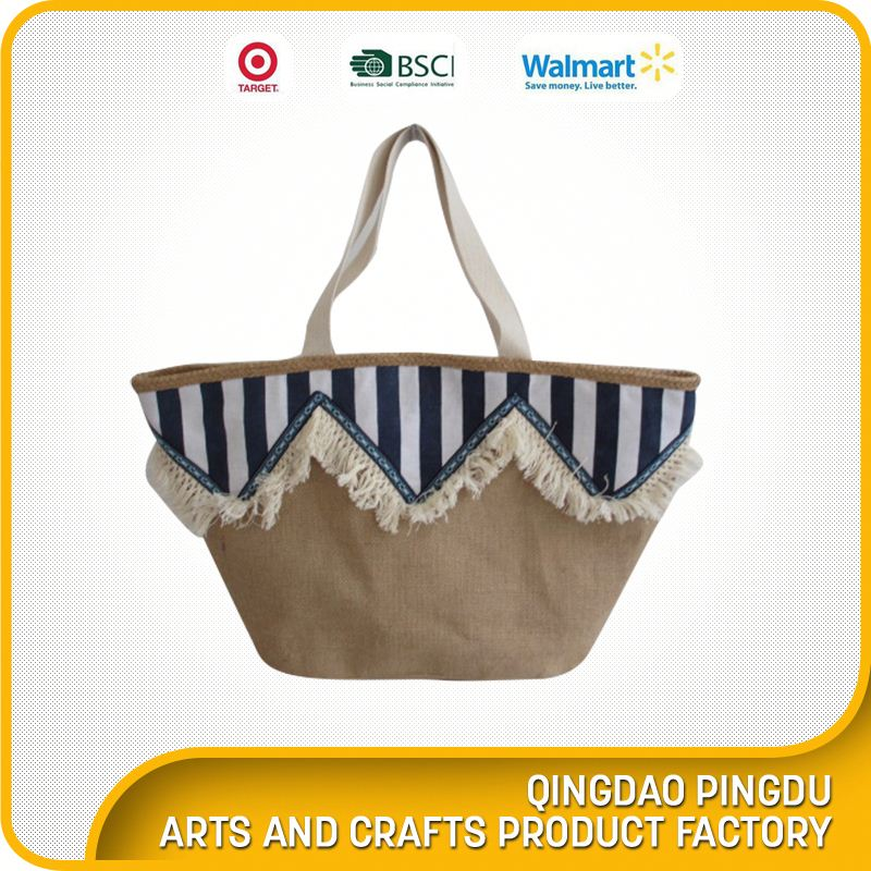 Free Sample Eco Beach Bag Embroidery Printed Jute Bag