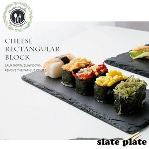 amazon products 30*20cm rectangular black sushi slate stone plate in stock