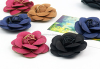 Decorative PU artificial leather flowers,fake handmade fabric rose wholesale