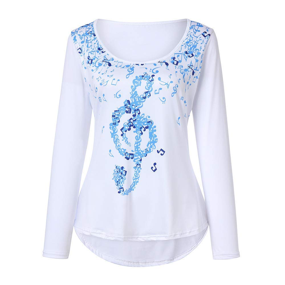 Zainafacai Fashion Musical Notes Print-Women Comfy Irregular Top Blouse Casual Loose Shirt