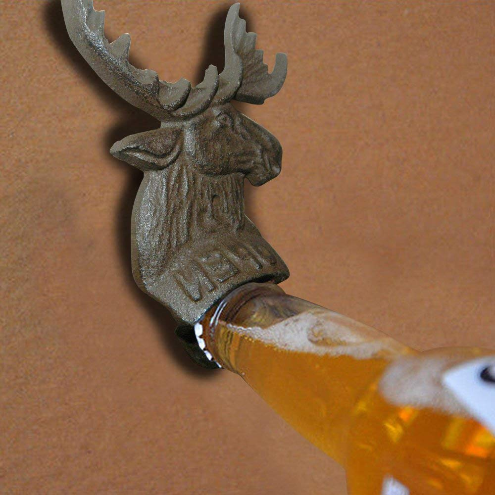 "Indipartex Elk Head Mount Fantastic Wall Mounted Cast Iron Rustic Deer Head Beer Soda Bottle Opener Rustic Cast Iron Heavy Duty Made of Heavy Cast Iron Measures Aprox 6 1/2"" Tall and 4 1/2"" Wide"