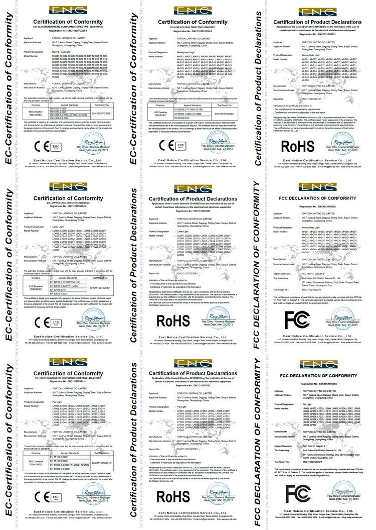 foryou stage lighting certificates