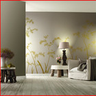 Design Hand Painted Wall Bamboo Design Non-woven Chinese Hand Painted Gilded Wall Paper