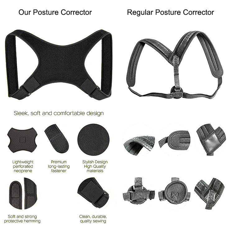 adjustable upper back support posture corrector brace with free gift massage ball