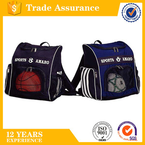 large front U-shape zip mesh opening sporty backpack school backpack for carrying balls and shoes