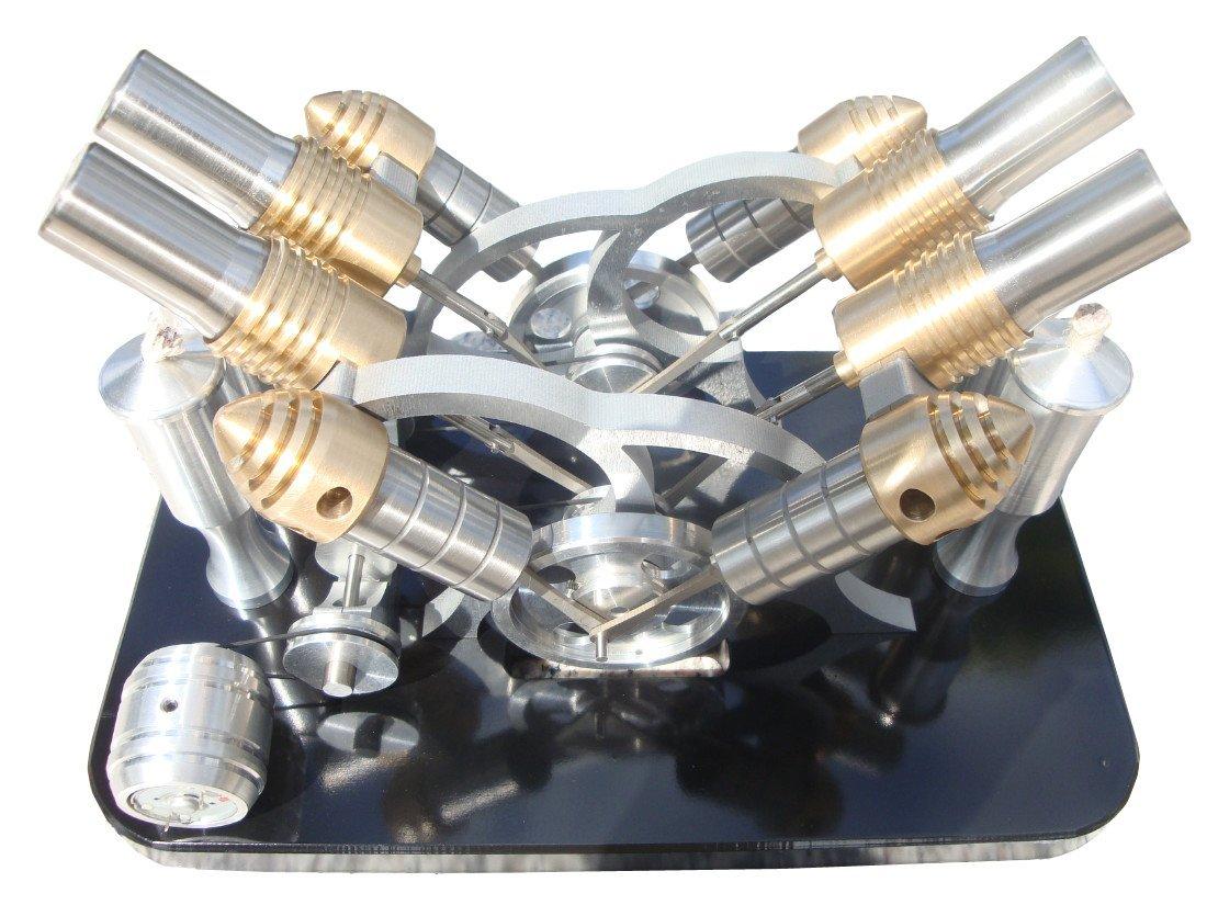 Lieyang Hot Air Quad Cylinder Stirling Engine Model Electric Power Generator Group M16-V4-D