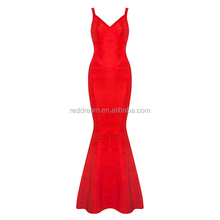 2016 New Women Wedding Party Dresses V-Neck Sleeveless Backless Bandage Gown Floor Length Long Dress