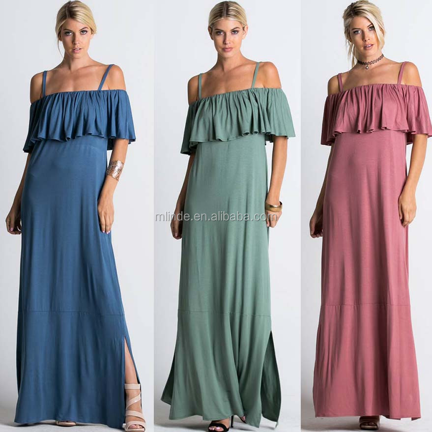 Women Smocking Flounce Maxi Smock Dresses Latest Trends In Female Clothing Apparel 2017 Summer