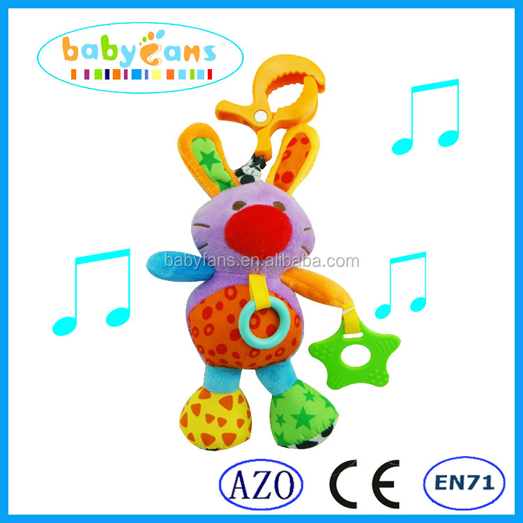 2015 popular plush <strong>rabbit</strong> toy baby musical hanging toy baby rattles toy