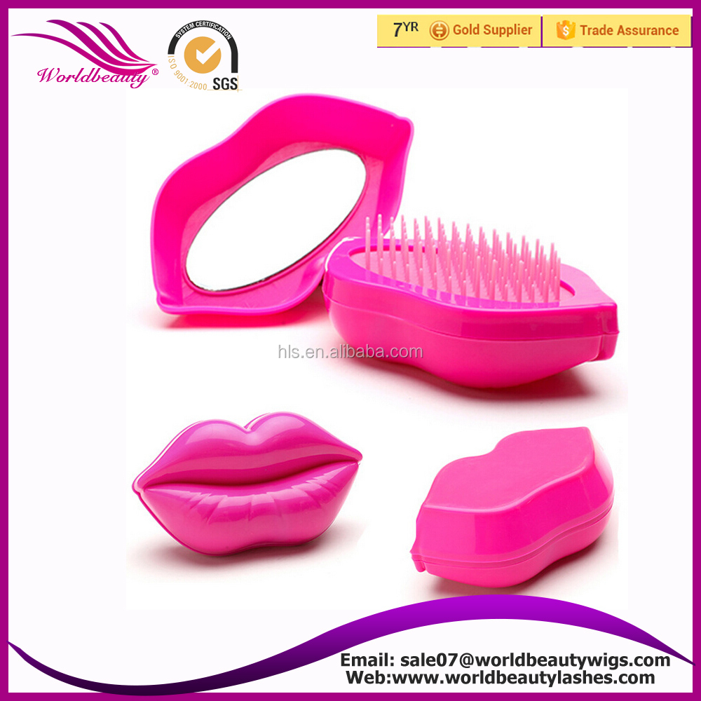 new type Lip shape personalized Detangling hair brushes with mirror