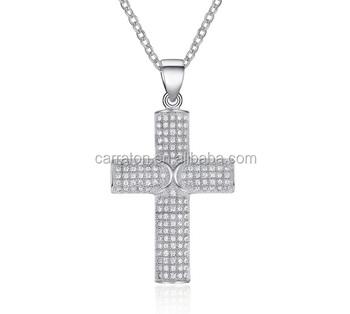 Hot Sale Micro Setting White Gold Christian Jewelry Cross Pendant