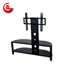 Floor standing corner wall cabinet glass tv stand with mount and storage shelf