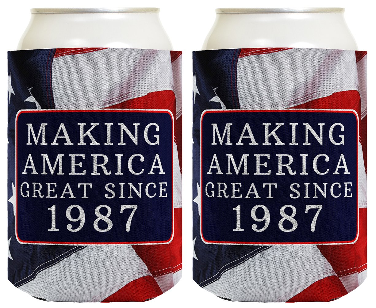 Republican Gifts for 30th Birthday Making America Great Since 1988 30th Birthday Gag Gifts for Republican Party 2 Pack Can Coolie Drink Coolers Coolies USA Flag