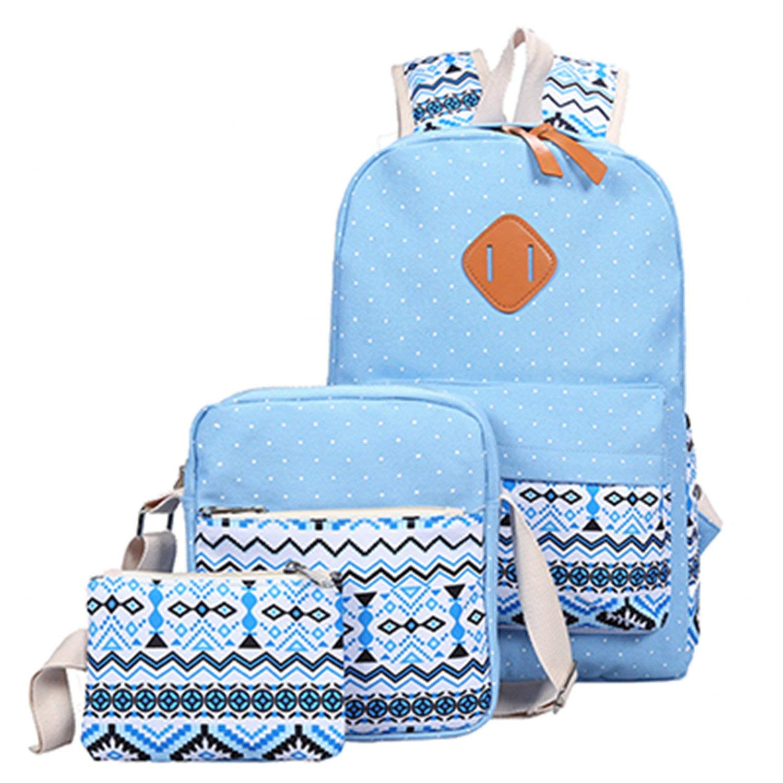 da096dee39a4 Backpack Set Canvas Printing Backpack Women Cute Lightweight Bookbags  Middle High School Bags for Teenage Girls