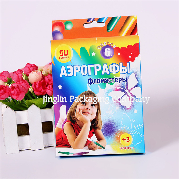 2018 wax crayons paper color gift box for kids School crayon packaging