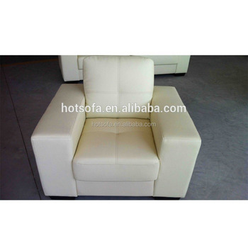 F601 Single Sofa Chair With Wide Armrest, White Leather Sofa Chair,  Comfortable Single Sofa