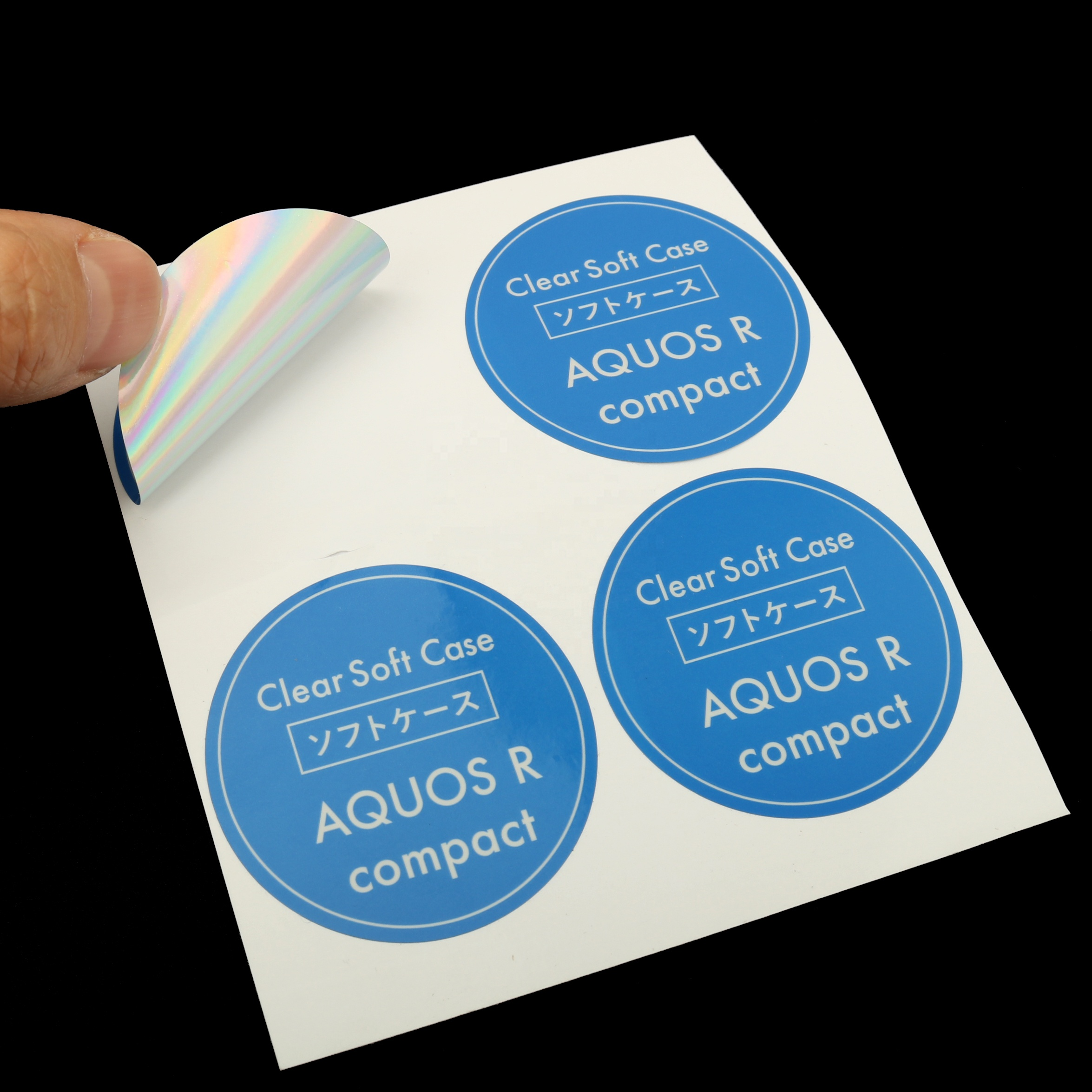 Custom silk screen printed logo adhesive paper vinyl die cut glossy shinny peel off round package stickers labels