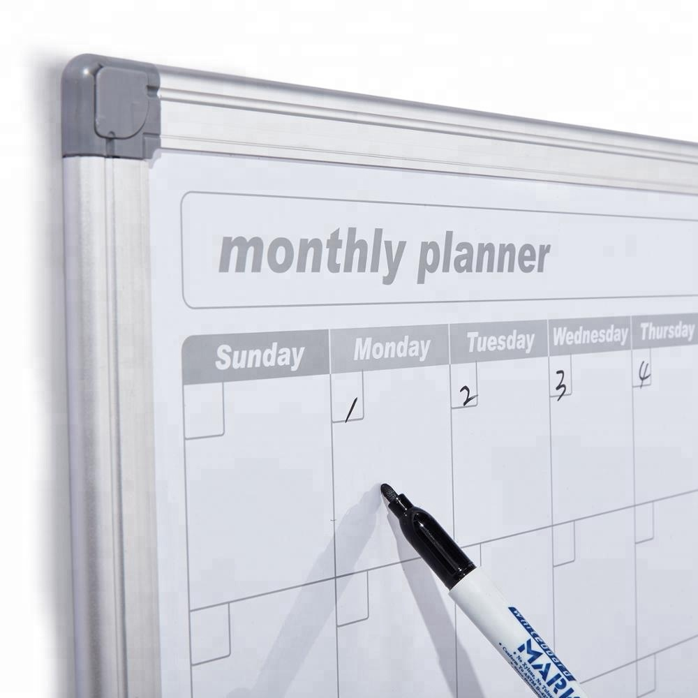 New design 3 in 1 wall mounted weekly combination magnetic dry erase whiteboard monthly planning calendar notice board