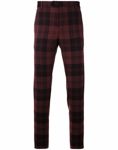 Tailored Cotton Tartan Plaid Checked Trousers with Waistband Detailing