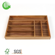Bamboo Custom Cheap Wholesale Kitchen Cutlery Tray Adjustable Drawer Divider