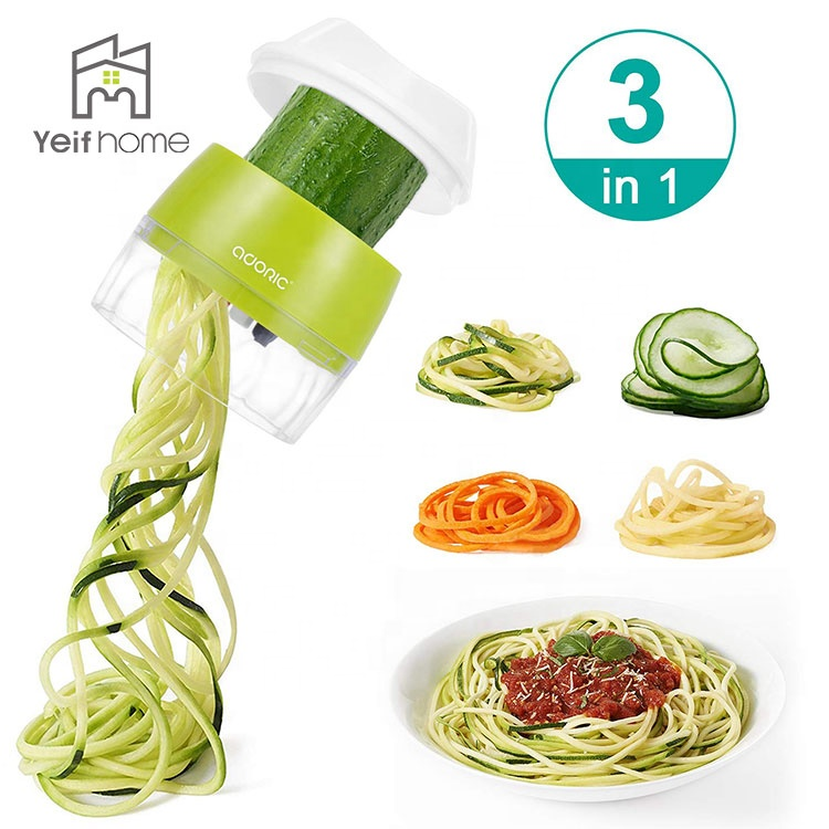 3 in 1 Heavy Duty Veggie Spiral Cutter Gemüse Slicer Handheld Spiralizer