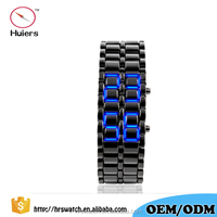Black silver Lava LED Display Watch Iron Stainless Steel Watch For Men Women Sports
