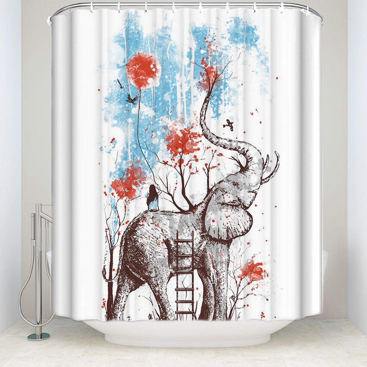 CyCoShower Funny Shower Curtain Elephant Playing With Girl Art Painting Print Bathroom Decor Polyester Fabric