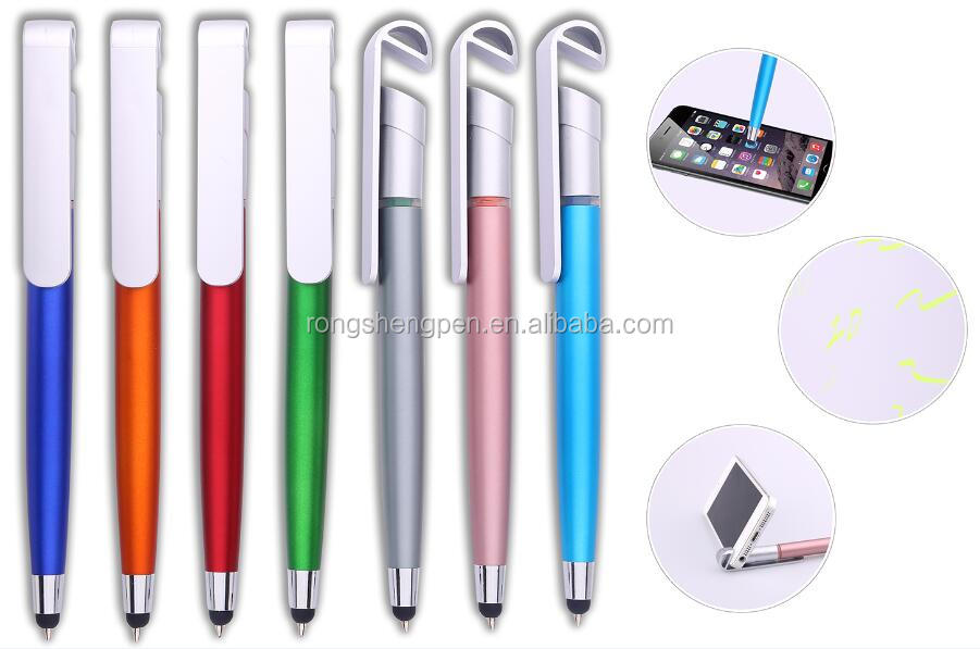 2016 new plastic 4 in 1 pen with touch stylus/phone holder/highlighter/ball pen for promotion