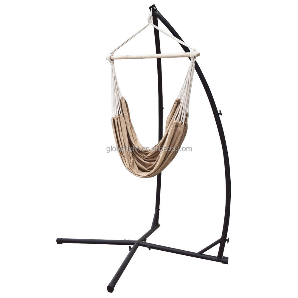 Hammock Steel C Frame Stand Porch Cotton Rope Swing Chair
